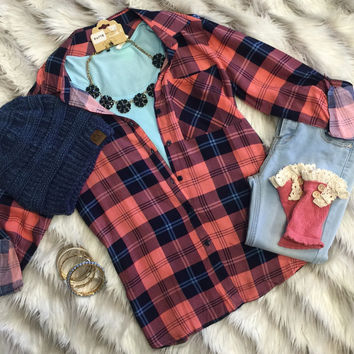 Take Me Home Plaid Top: Coral/Navy