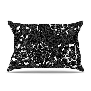 "Julia Grifol ""Flowers in White & Black"" Black White Pillow Case"