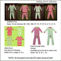 Personalized Monogrammed Christmas Pajamas PRE-ORDER by 7-17-13 Adult Size