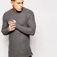 ASOS Muscle Fit Longline Long Sleeve T-Shirt in Waffle Fabric