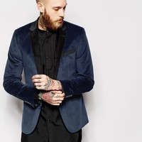 ASOS Slim Fit Blazer In Cut And Sew Velvet at asos.com