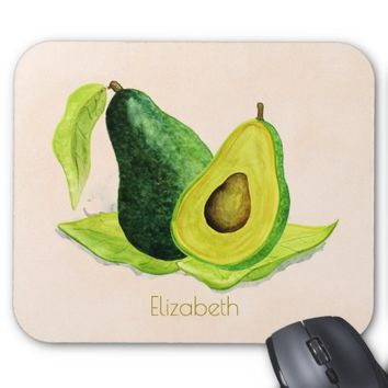Green Avocado Still Life Fruit in Watercolors Mouse Pad
