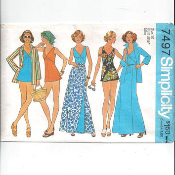 Simplicity 7497 Pattern for Misses' Bathing Suit, Wrap Skirt, Shirt Jacket, Size 10, From 1976, Vintage Pattern, Home Sewing, 1976 Fashion