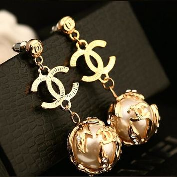 CHANEL Fashion Women Delicate Peal Earrings I12875-1