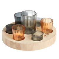 Glass Candle Holder Set with Wood Tray, 8-Piece