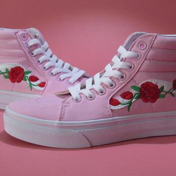 Vans Amac Custom Rose Embroidery Pink Skateboarding Shoes 35-39 - Beauty Ticks