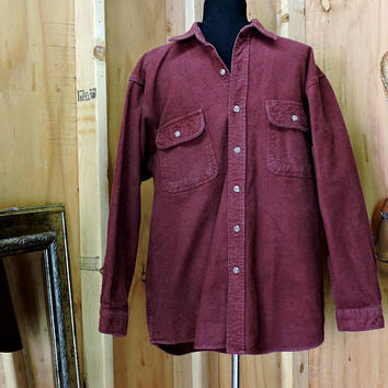 Vintage Field and Stream / heavy cotton shirt / size L / 80s mens red flannel shirt / hunting fishing outdoor wear