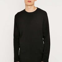 Commodity Stock Black Waffle Long Sleeve T-shirt - Urban Outfitters