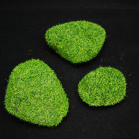 3 Artificial Moss Miniature Boulders for Decorations in Fairy Gardens, Terrariums, Succulent Baskets or Vase Fillers - Synthetic Accessory