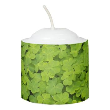 Green Shamrocks Floral Photo Votive Candle