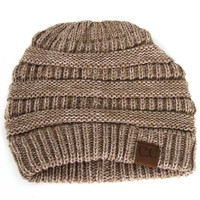 CC Beanie Cable Knit in Taupe and Ivory YJ800-TPIV