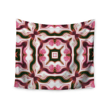 """Dawid Roc """"Vintage Flower Pattern 1"""" Pink Abstract Wall Tapestry"""