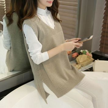 Spring Wool Sweater Vest Women Sleeveless O-Neck Knitted Vests Long Sections Poullover Vest Female Jumper pull femme