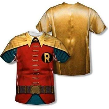 Mens Batman Classic TV Robin Costume Vibrant Sublimation T-Shirt