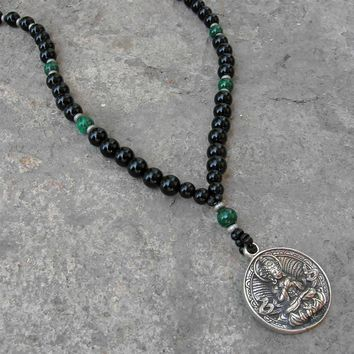 Buddha, Genuine Onyx Malachite Gemstone Necklace with Buddha Pendant
