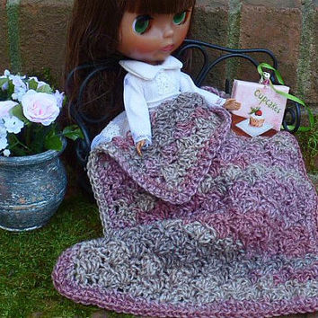 Pink Afghan Blanket, Fashion Doll, Crochet Home Décor, 1:6 Scale, 12 inch Doll Accessories, Barbie Blythe Pullip Azone, MH, BJD, Licca Dolls