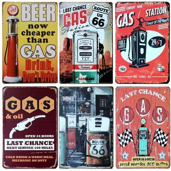 Hot Gas Station And Gasoline Vintage Metal Signs Home Decor Vintage Tin Signs Pub Vintage Decorative Plates Metal Wall Art