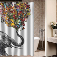"Elephant Shower Curtain Custom Shower curtain,Sizes available size 36""w x 72""h 48""w x 72""h 60""w x 72""h 66""w x 72""h"