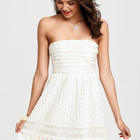 Crochet Ruched Strapless Dress