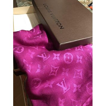 LV Louis Vuitton Stylish Women Fuschia Monogram Cashmere Scarf Shawl I