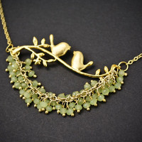 Gold Peridot Bird Necklace