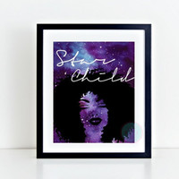 PRINTABLE ART Star Child 8x10 Purple Galaxy Print African American Natural Hair Kinky Curly Afro Natural Hair Nebula Print Salon Wall Art