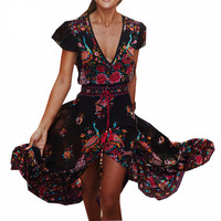 Retro Bohemian Maxi Dress V-neck