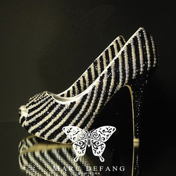 Jet Black Crystal Ivory Pearl Stripes, Luxury Peep Toe Platforms Heels