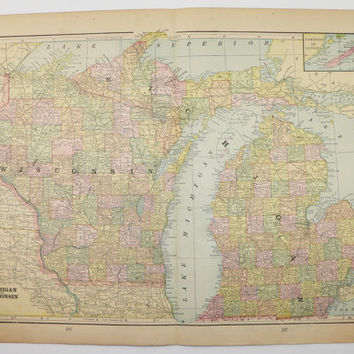 Vintage Wisconsin Map Michigan Upper Peninsula Map 1900 Antique Map, Man Cave Decor Gift for Him, Vintage Decor Art Gift for Her