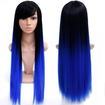 28'' Blue Ombre Colored Wig  Synthetic Wigs