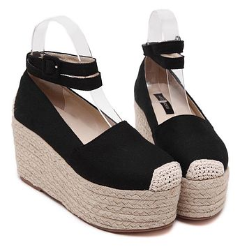 Women Espadrilles Canvas Casual Summer Vacation Rope Sole Thick Platform Flat Mary Janes Shoe Ankle Strap Slip on Muffin Shoe