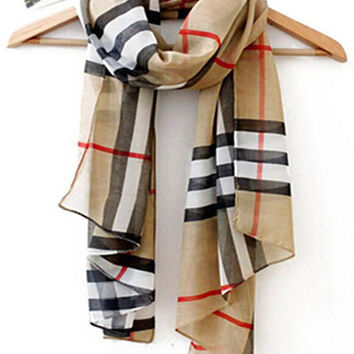 Classic Women Lady PLAID/CHECK Grid Chiffon Soft Wrap Shawl Scarf All-match Scarves -  Modern  Multicolored Scarf chiffon Gift Native Scarf