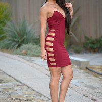 Strapped to Perfection Dress - Burgundy