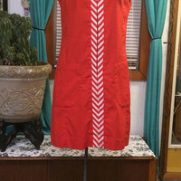 Vintage 60's red cotton summer dress