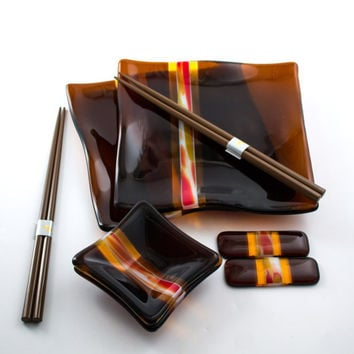 Asian Dinnerware - Sushi Set - Fused Glass - Dark Amber - Modern Design - Square Glass Plates - Dipping Sauce Bowls - Japanese Chopsticks
