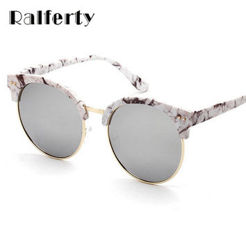 Ralferty Vintage Korean Round Polarized Sunglasses Women Brand Designer Circle Sun Glasses For Woman Shades Points oculos 6507