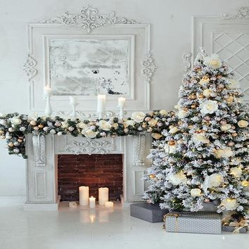 Elegant White Christmas Tree Decorations and Fireplace Platinum Cloth Backdrop - 8x8 - LCPC4663 - LAST CALL