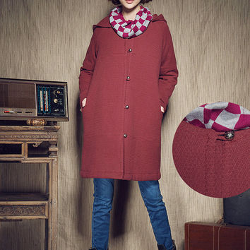 Hooded Winter Coat, Long Jacket in Wine Red, Red Cloak, Cape Coat, Plus Size Women