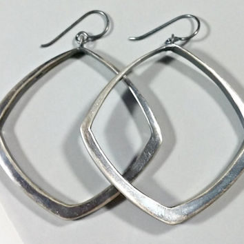 Vintage Diamond Shaped Sterling Silver Hoop Earrings Large Rounded Geometric Modernist Dangle Pierced Earrings Big Bold and a Blast to Wear!