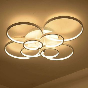 Ultra thin 4/6/8/10 ring LED acrylic ceiling chandeliers bedroom modern LED ceiling hanging lamp90-260v