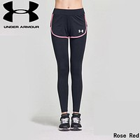"""""""Under Armour"""" Newest Popular Women Casual Sport Stretch Pants Fake Two Piece Yoga Trousers Sweatpants Rose Red"""