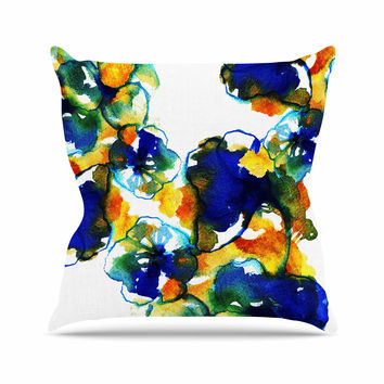"Sonal Nathwani ""Blue Orange Floral"" Abstract Watercolor Throw Pillow"
