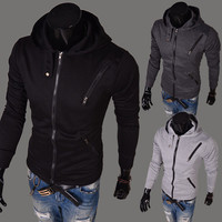 Men Hoodies Korean Slim Zippers Tops Casual Men's Fashion Jacket [6528675139]