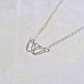Double Heart Necklace, 925 Sterling Silver, Sideways Double Heart Necklace, Wire Crafted Heart, Love Necklace, Valentine's Gift