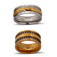 ION Plated YG and Stainless Steel - Set of 2 Men's Rings (Size 11)