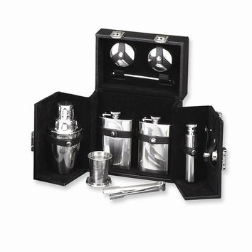 Black Leather & Stainless Steel Flask & Shaker Set - Engravable Gift Item