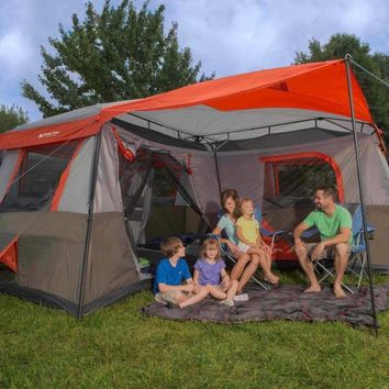 Genuine Ozark Trail 12 Person 3 Room L-Shaped Instant Cabin 16x16 Camping Tent