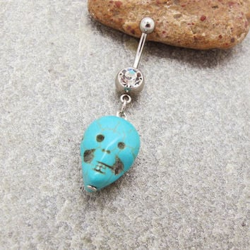 Turquoise stone skull belly button ring , belly button jewelry