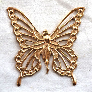 1 large fairy, goddess butterfly brass stamping, Art Nouveau, Victorian, pendant, charm, connector, ornament, 57 x 57mm, USA made C8901