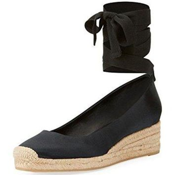 CREY3DS Tory Burch Heather Lace Up Satin Wedge Espadrilles, Black
